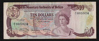BELIZE (P40a) 10 Dollars 1980 aVF