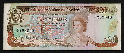 BELIZE (P41) 20 Dollars 1980 aVF/VF