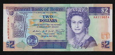 BELIZE (P52a) 2 Dollars 1990 UNC