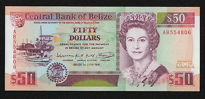 BELIZE (P56b) 50 Dollars 1991 UNC SCARCE!