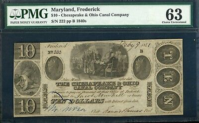 1840's $10 Frederick MD PMG 63 with Declaration of Independence Scene Obsolete