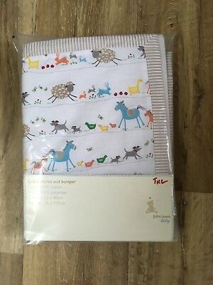 John Lewis Baby Lacy Crib Coverlet And Bumper Set New