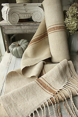 Antique homespun hemp linen RARE Toffee stripe 12.2 YDS upholstery fabric