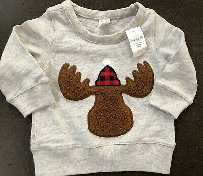 Boys Baby Gap 6-12 months Gray Moose Fleece Top L/S NEW NWT Top Holiday