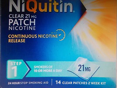 NiQuitin CQ Clear 21mg Step 1 - 14 Patches - Quit Smoking  TWO WEEK PACK