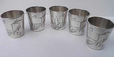Antique CHRISTOFLE  Silverplate Set of Cups ~ Engraved Aesthetic Motif  FRANCE
