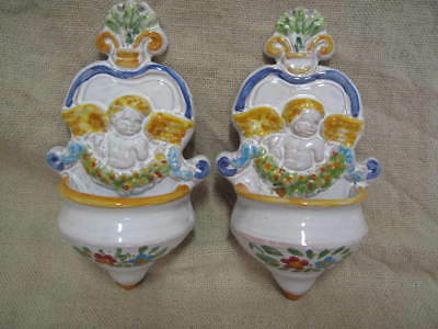 2 x Acquasantiera in ceramica angelo - pottery holy water