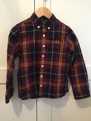 Fred Perry Shirt Age 3-4 Christmas Check Plaid Excellent Condition Long Sleeve