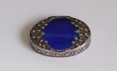 Antique c. 1900 Russian 84 Silver & Enamel Repousee Pill Patch Box ~ Hallmarked