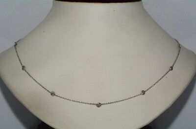 $3,500 1.10Ct Natural Round Cut Diamond By The Yard Necklace 14K White Gold
