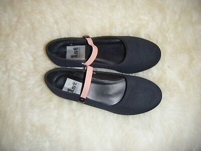 1st Position - Black Canvas Low Heel Character Dance Shoes - Size 2