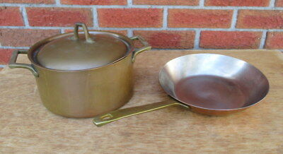 """Paul Revere Usa Copper & Stainless Steel 3 Qt Dutch Oven W/lid & 8 1/2"""" Skillet"""