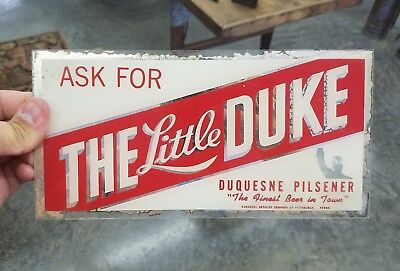 Vintage Duquesne Beer Glass Advertising Sign The Little Duke Pittsburgh PA