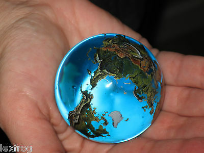 "Big 2"" Crystal Glass Earth Globe Marble Sphere Orrery"