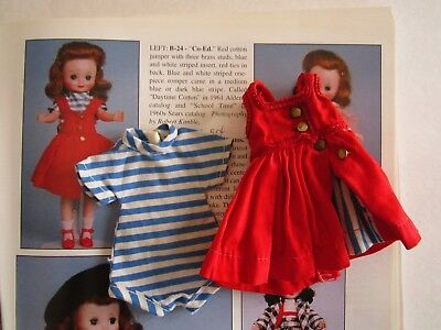 """Vintage Tiny Betsy McCall  B-24 """"Co-Ed"""" Red Jumper & Romper READ"""