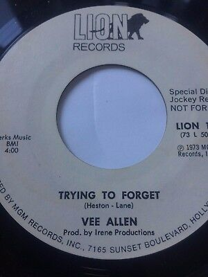 """Northern Soul Promo 45/ Vee Allen """"Trying To Forget""""  Near Mint  Hear!"""