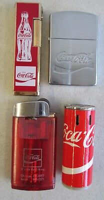 Lot Of 4 Vtg Coca Cola Lighters Promo Can Shaped Transparent Red Metal Plastic