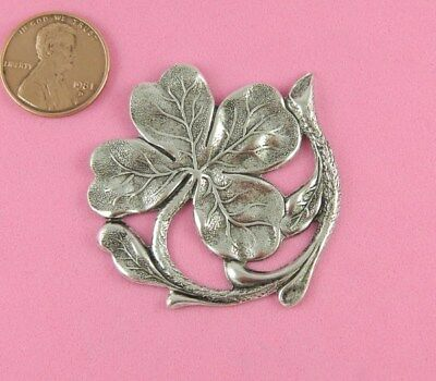 Vintage Design Antique Silver Plated Brass Large Shamrock - 1 Pc