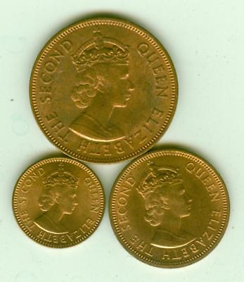 3 Mauritius Uncirculated 1959 Coins-Lot D4