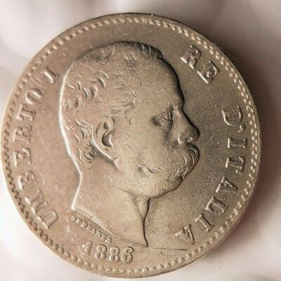 1886 ITALY LIRA - Excellent Rare Date Silver Coin - Lot #119