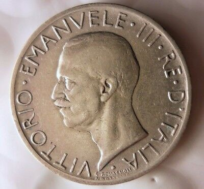 1929 ITALY 5 LIRE - Scarce Date AU Silver Collectible Coin - Lot #119