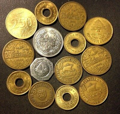 OLD Lebanon Coin Lot - 1952-Present - 14 High Grade Uncommon Coins - Lot #119
