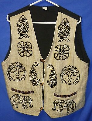 """Never Worn Nepalese Duffle Waist Coat Vest 42"""" Size 12 Cotton Made in Nepal"""