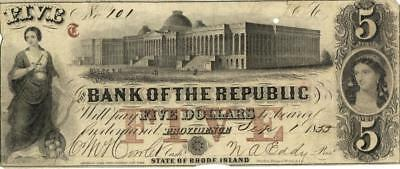 U.S. Obsolete Currency RI $5 Bank of Republic 1855