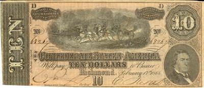 Civil War $10 Confederate Currency Banknote 1864 XF