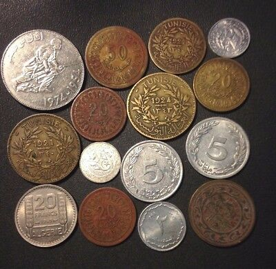 Old Tunisia/Algeria Coin Lot - 1921-Present - 15 Great Islamic Coins - Lot #119