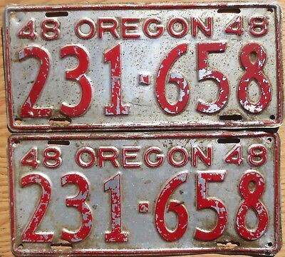 1948 Oregon License Plate Number Tag Pair Plates - $2.99 Start