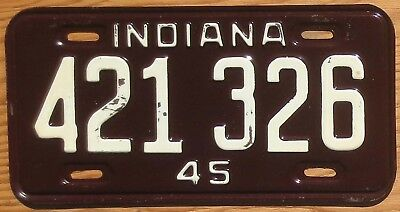 1945 Indiana License Plate Number Tag