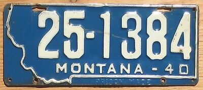 1940 Montana License Plate Number Tag