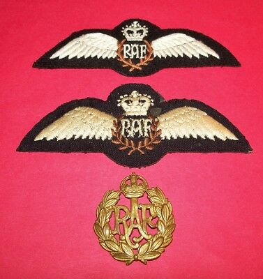 2 Felt Ww2 Style Embroidered Raf Pilot Wings & 1 Original Badge (Missing Pins)