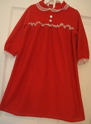 Vintage Red Flannel Factory Classic Flannel Gown Sleepwear Lace Collar Size 18 M