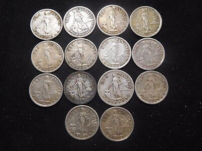 INV #W56 Philippines Early 1900's Silver 10 Centavos Group 14 Pieces