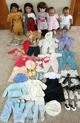 HUGE Lot of 5 American Girl Doll Pleasant company dolls & clothes Twins Dog Rare