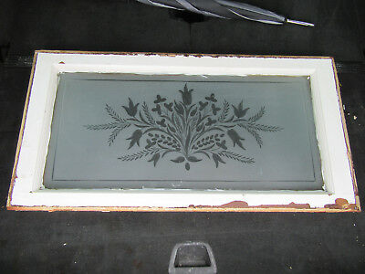 Antique Wheel Cut Etched Glass Transom Window 35 X 18 ~ Architectural Salvage ~