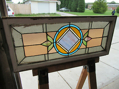 ~ Antique American Stained Glass Transom Window  ~ 42 X 18 Architectural Salvage