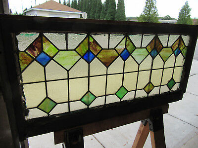 ~ Antique American Stained Glass Transom Window  ~ 42 X 20 Architectural Salvage