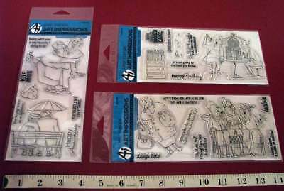 3 Pkgs Art Impressions Clear Stamp Sets –Love, Fabulous, Birthday Sets