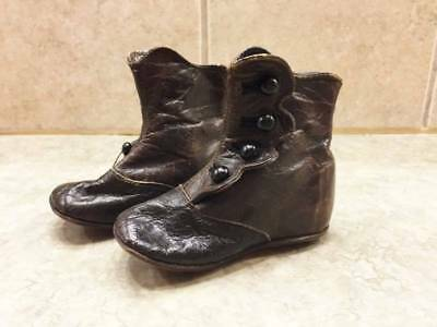 Antique Victorian Brown Leather Button High Top Baby/Doll Shoes
