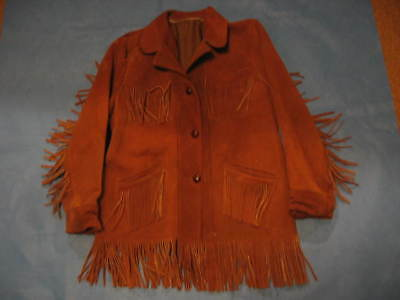 WOMENS RAWHIDE COAT / JACKET with FRINGED TASSELS - SIZE is LARGE