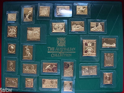 Australia. Set of 25 - 24ct Gold Plated, St.Silver Stamps. Proof -  In Orig Case