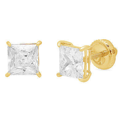 2.8ct Princess Cut Stud Solitaire Earrings Gift Solid 14k Yellow Gold Screw Back