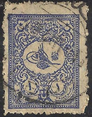 1901 Turkey External post stamp - small Tughra of Abdul Hamid II used 1 piastre