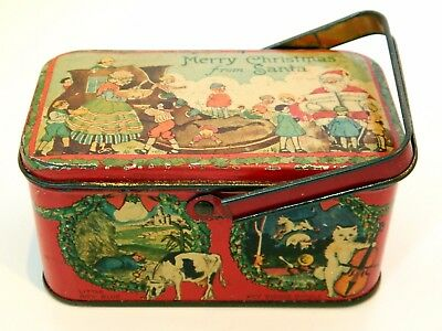 Antique Tindeco Merry Christmas From Santa Candy Tin Nursery Rhymes Graphics