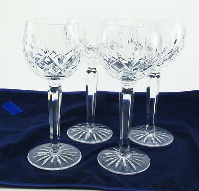 Waterford Lismore Set of 4 Balloon/Hock Wine Cut Crystal Glasses 7 3/8 Inch