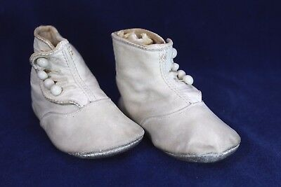 Antique White Leather Baby Shoes with Glass Buttons