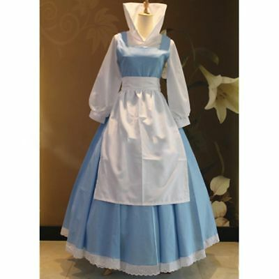 Beauty and the Beast Belle Blue Princess Dress Maid Cosplay Costume FreeShipping